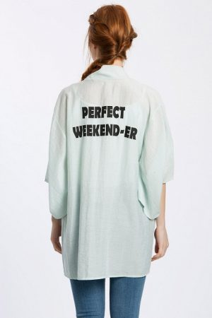 Perfect Weekender Baskılı Keten Kimono