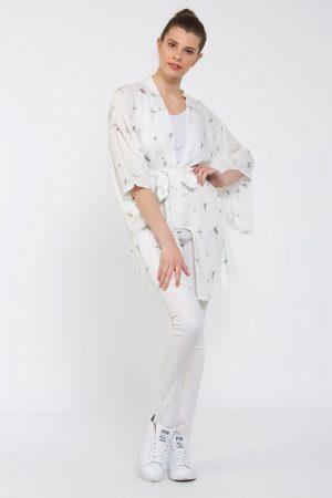 Beyaz Balerin Desenli Kimono