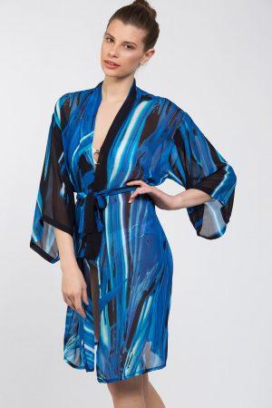 Mavi Lacivert Desenli Kimono