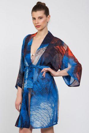 Mavi Turuncu Kök Desenli Kimono