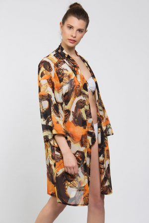 Sarı Kahve Karışık Desenli Kimono