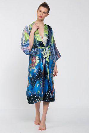 Mavi Etekleri Pembe Çiçek Desenli Uzun Kimono