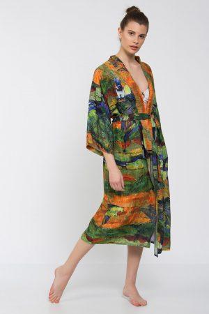 Yeşil Turuncu Mavi Etnik Desenli Uzun Kimono