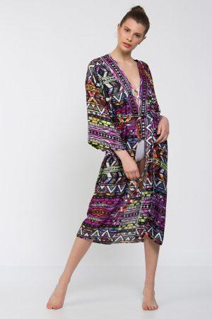 Karışık Renkli Grafik Desenli Uzun Kimono