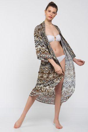 Bordo Haki Lacivert Karışık Desenli Uzun Kimono