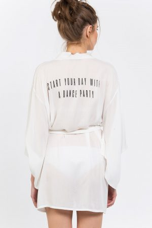 Start Your Day With A Dance Party Baskılı Kimono