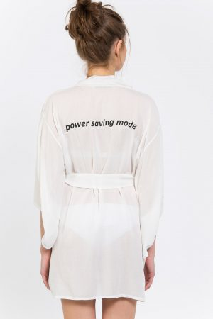 Power Saving Mode Baskılı Kimono