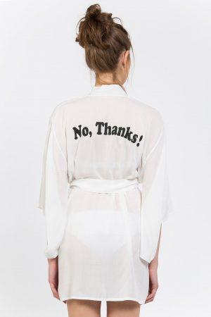 No Thanks Baskılı Kimono